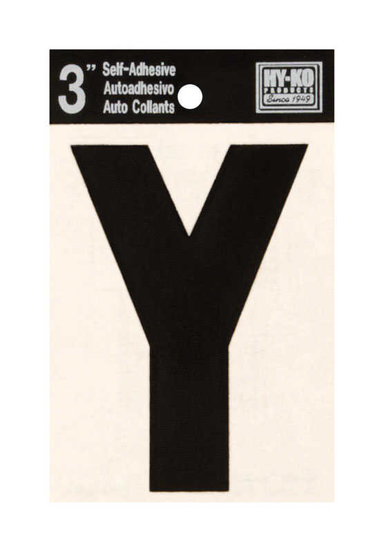 Hy-Ko  3 in. Black  Vinyl  Letter  Y  Self-Adhesive  1 pc.