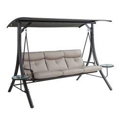 Living Accents  3-Seat  3 person Steel  Swing  Gray