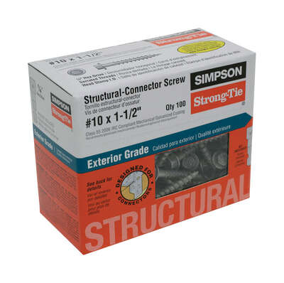 Simpson Strong-Tie Strong-Drive No. 10 x 1-1/2 in. L Star Hex Head Connector Screw 0.8 lb. 100