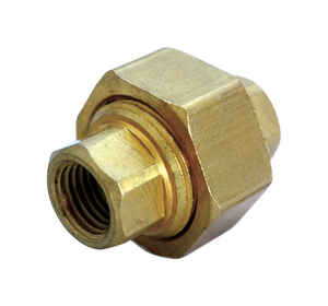 JMF  3/4 in. Dia. x 3/4 in. Dia. FPT To FPT To Compression  Yellow Brass  Union