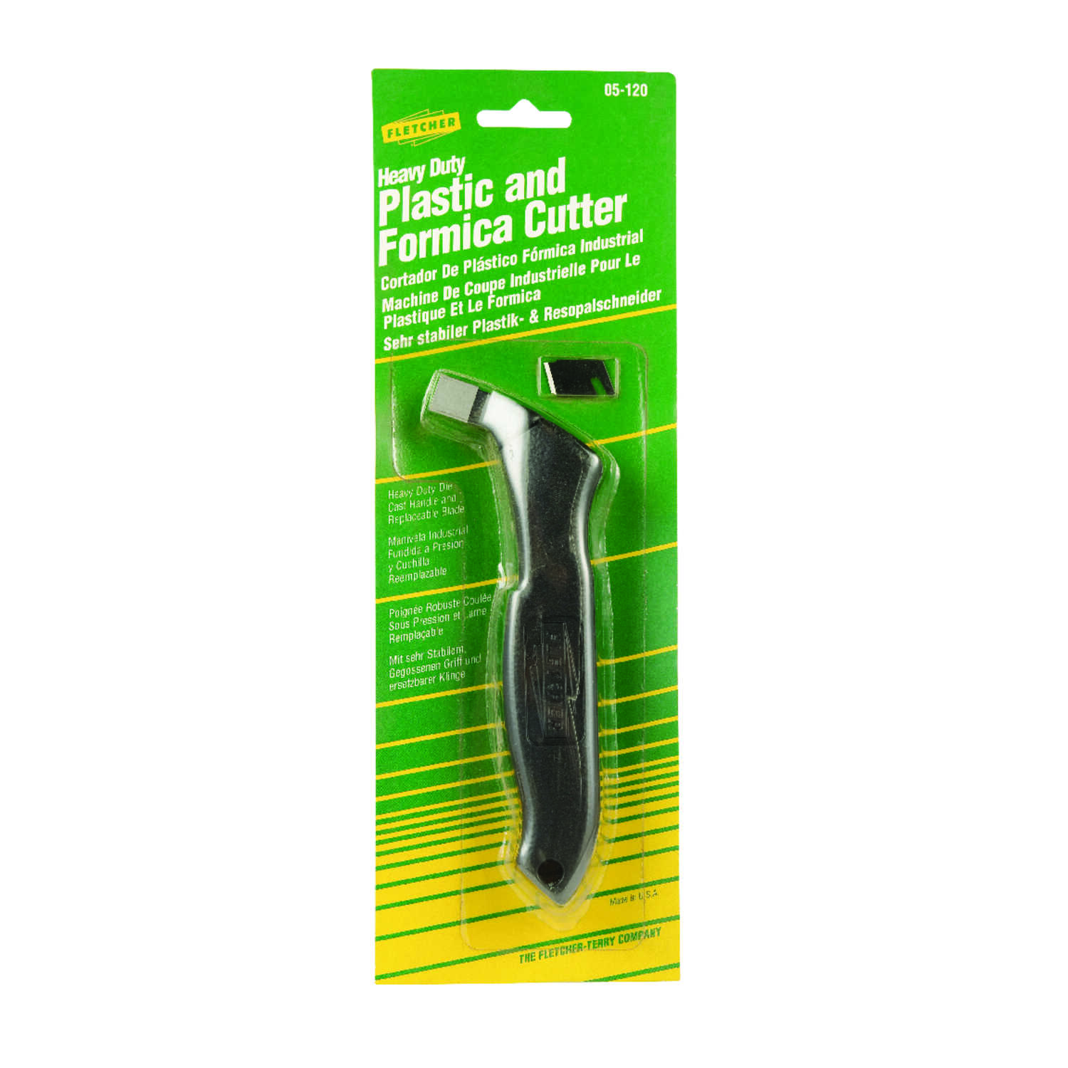 Fletcher  Plastic and Formica  4 in. Fixed Blade  Cutter  Black  1 pk