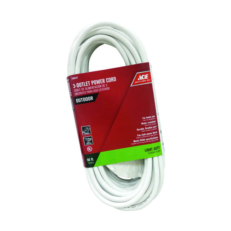Ace  50 ft. L White  Triple Outlet Cord  16/3 SJTW  Outdoor