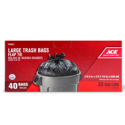 Ace 33 gal. Trash Bags Flap Tie 40 pk