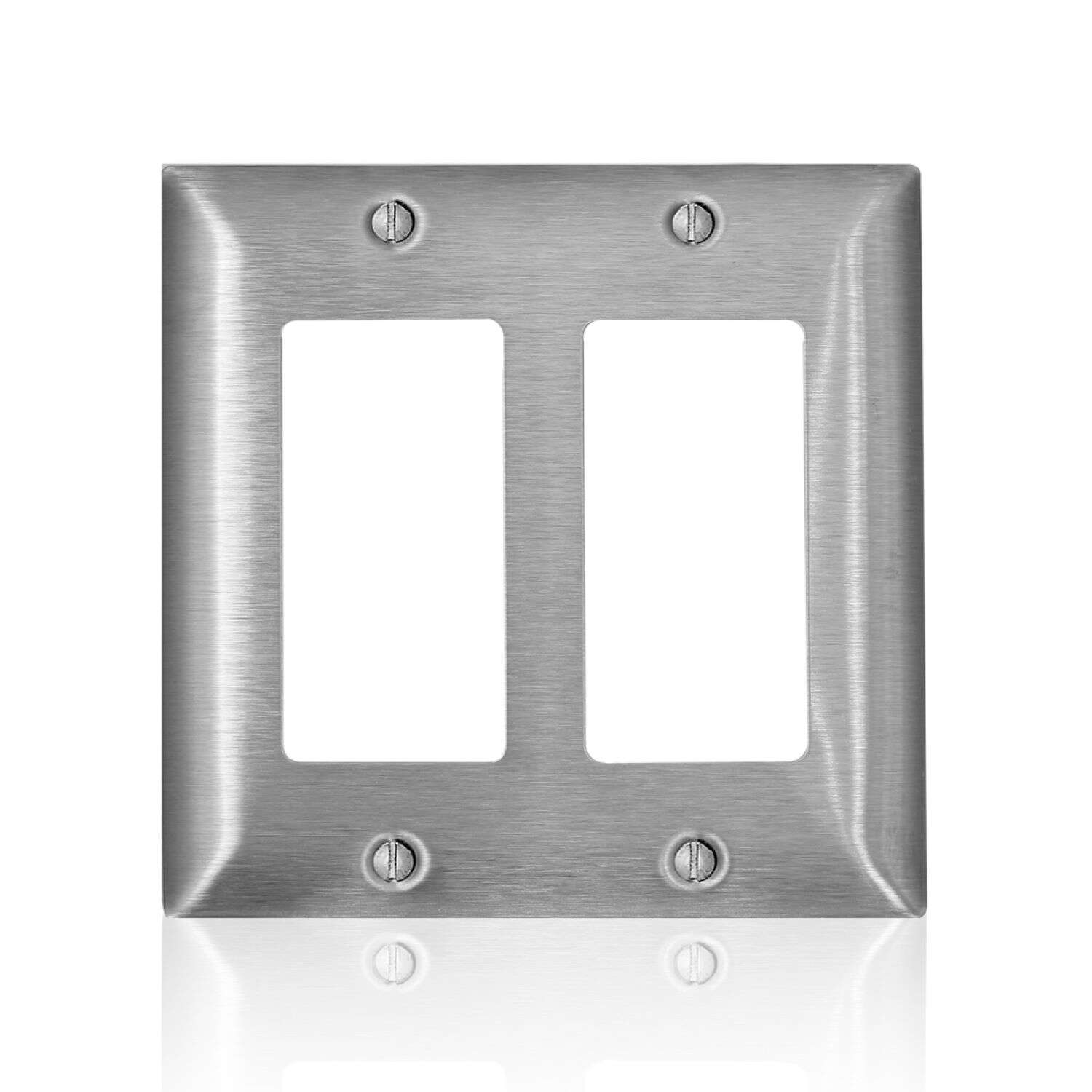 Leviton  C-Series  Stainless Steel  2 gang Metal  Decora/GFCI  Wall Plate  1 pk