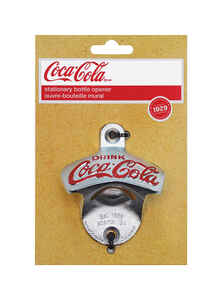 TableCraft  Coca-Cola  Galvanized  Silver  Cast Metal  Manual  Wall Mount Bottle Opener