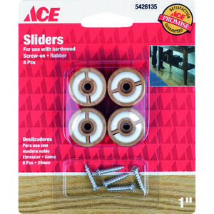 Ace  Rubber  Round Slider for Hardwood Floors  Brown  Round  1 in. W 8 pk