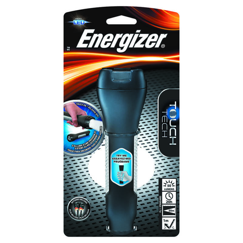 Energizer  TOUCH TECH  50 lumens Black  LED  Flashlight  AA
