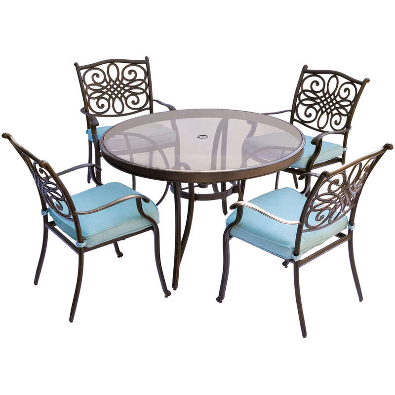 Hanover  5 pc. Bronze  Aluminum  Dining Patio Set  Blue
