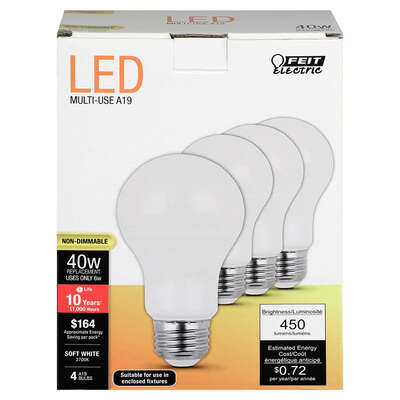 Feit Electric  A19  E26 (Medium)  LED Bulb  Soft White  40 Watt Equivalence 4 pk