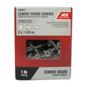 Ace  No. 8   x 1-5/8 in. L Phillips  Wafer Head Ceramic  Steel  Cement Board Screws  1 lb. 131 pk