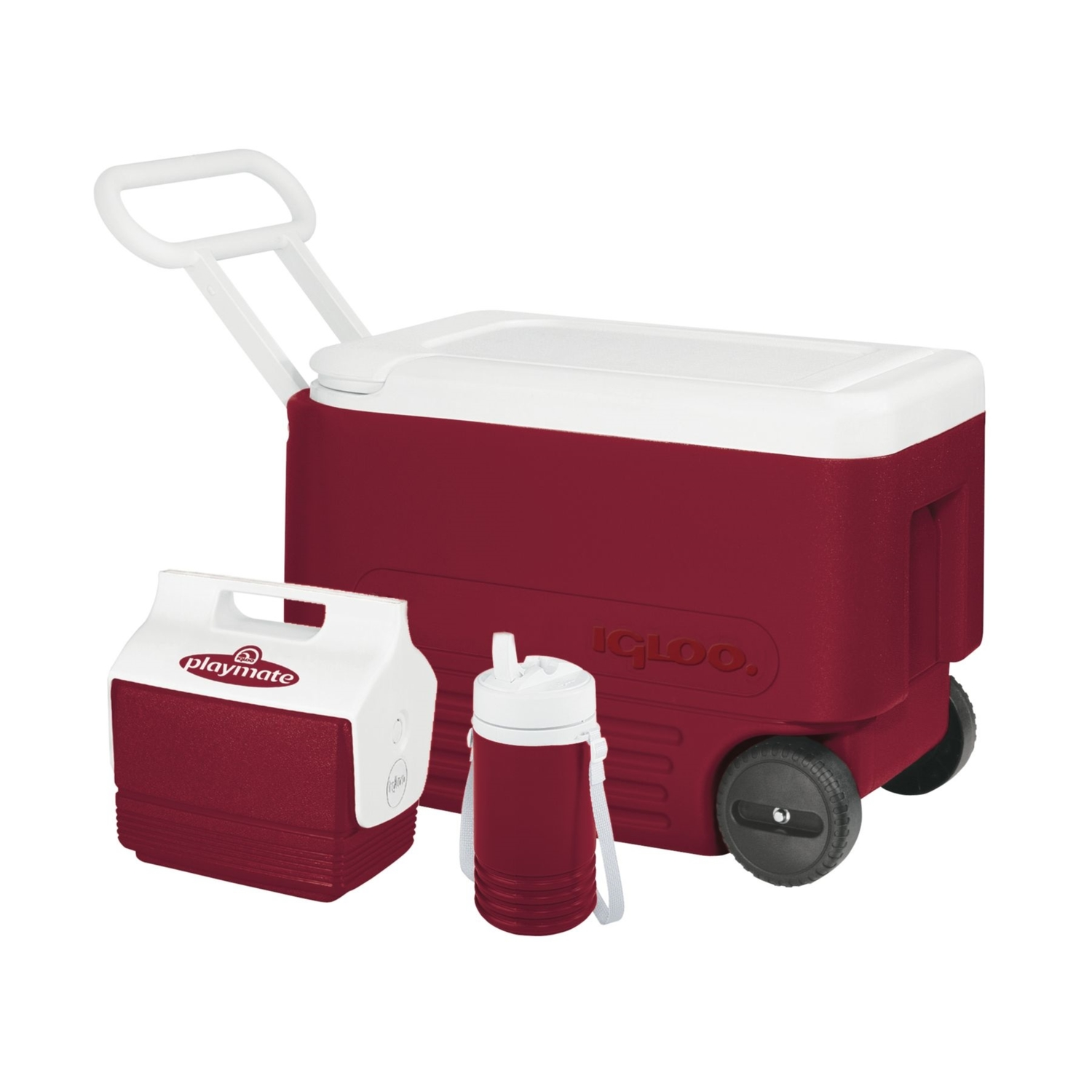 Igloo  Wheelie Cool  Cooler  38 qt. Red/White
