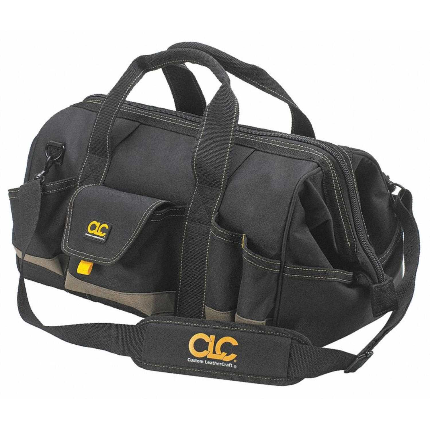 CLC Work Gear  MegaMouth  2.75 in. W x 12 in. H Polyester  Tool Bag  25 pocket Black/Tan  1 pc.