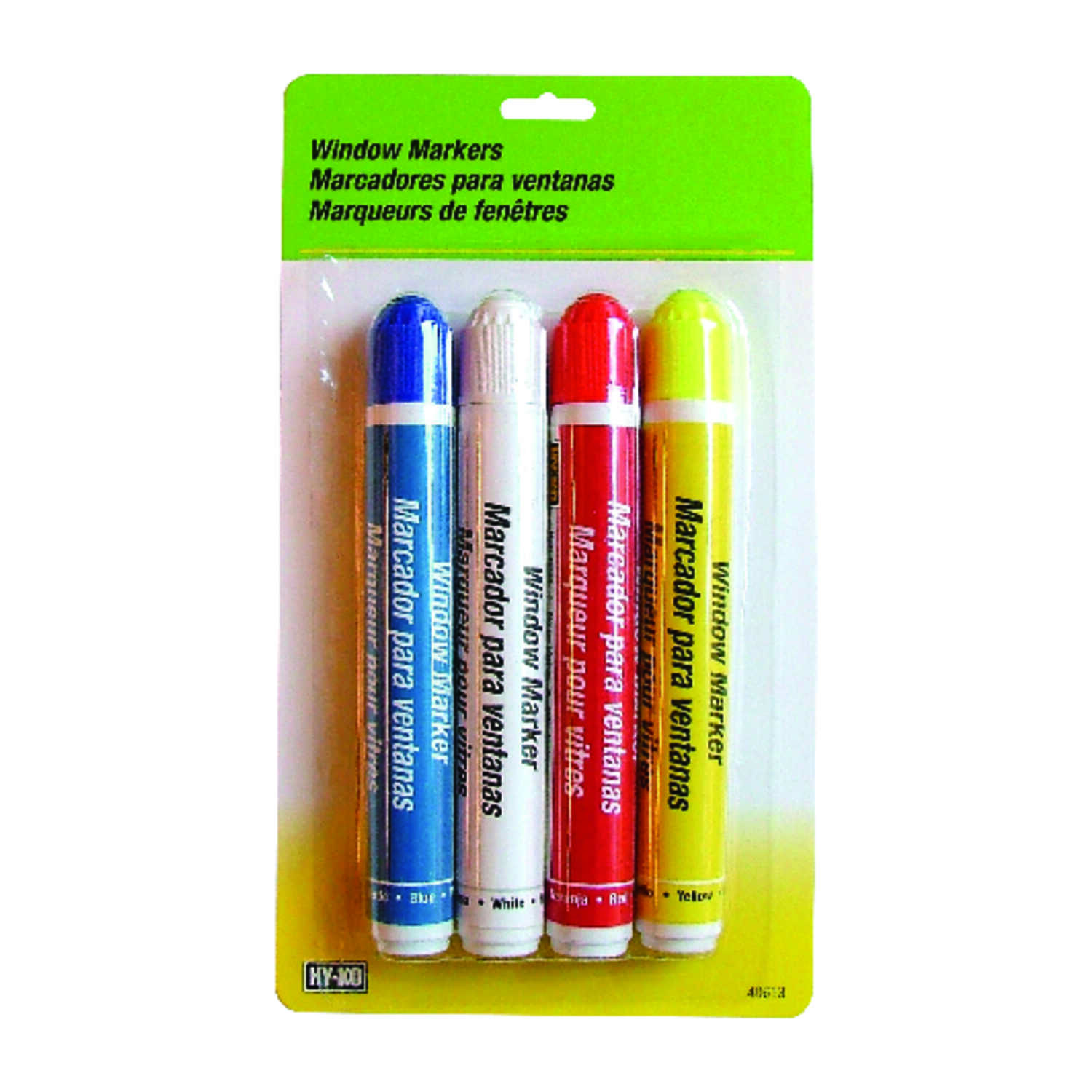 Hy-Ko  Assorted  Broad and Fine Tip  Glass Marker  4 pk