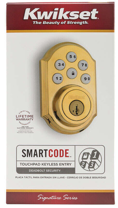 Kwikset  SmartCode  Polished Brass  Electronic Deadbolt  Metal
