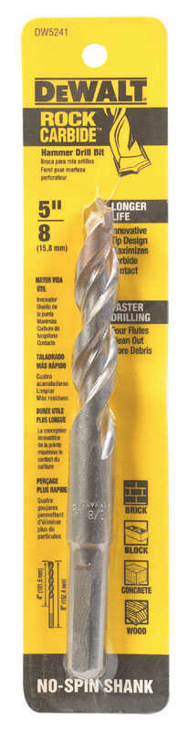 DeWalt  5/8 in. Dia. x 6 in. L Percussion Drill Bit  3-Flat Shank  1 pc. Carbide Tipped