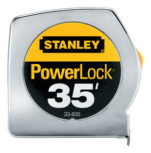Stanley  PowerLock  35 ft. L x 1 in. W Tape Measure  Silver  1 pk