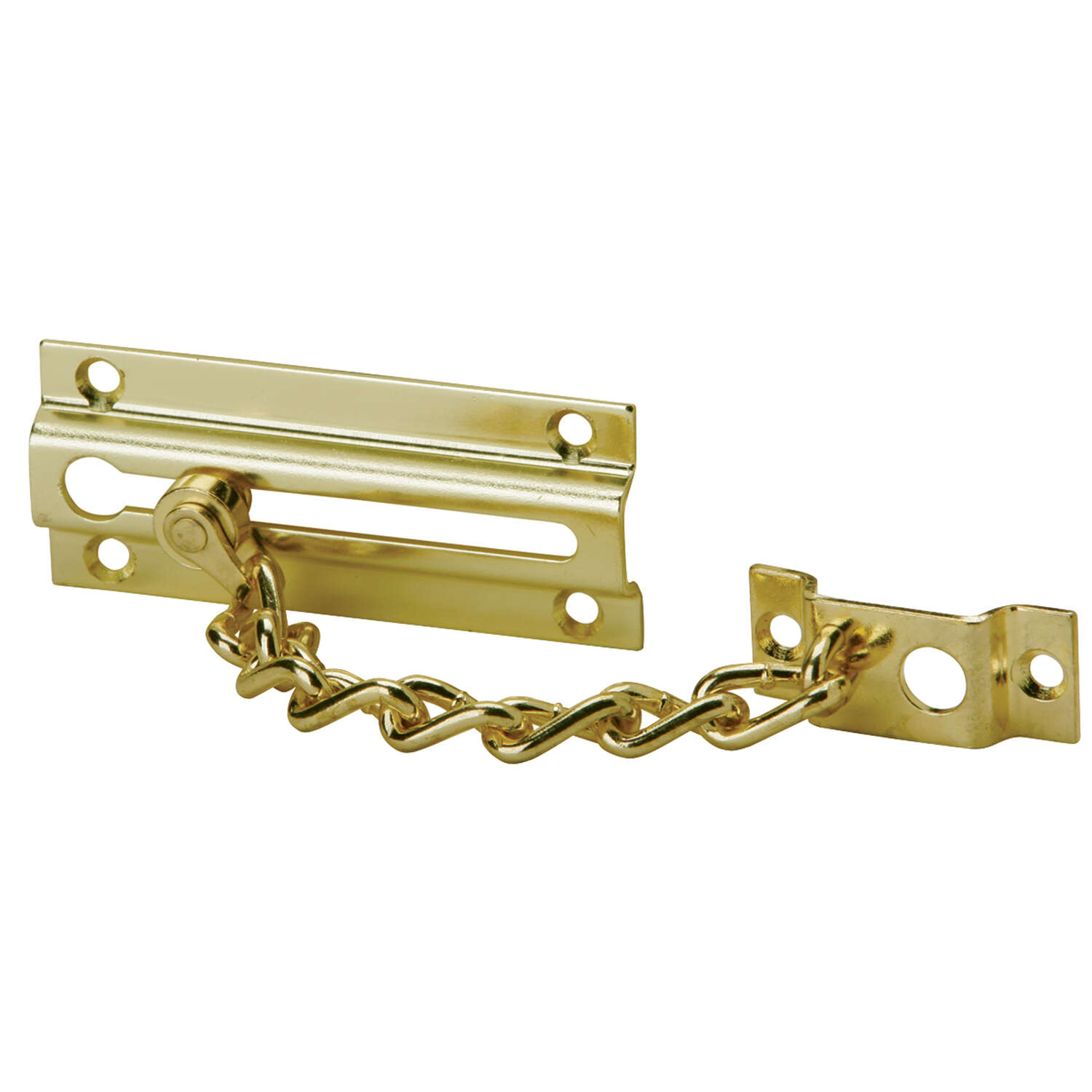 Ives  1-7/16 in. H x 3-3/8 in. L Polished Brass  Brass  Chain Door Guard