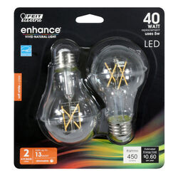 Feit Electric  Enhance  A19  E26 (Medium)  Filament LED Bulb  Soft White  40 Watt Equivalence 2 pk