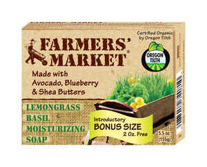 Beaumont Products  Farmers Market  Organic Lemongrass Basil Scent Organic Bar Soap  5.5 oz