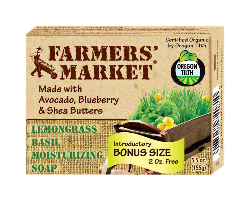 Beaumont Products  Farmers Market  Lemongrass Basil Scent Organic Bar Soap  5.5 oz
