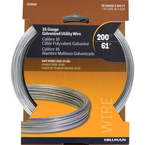 HILLMAN  0.061 - 0.065 in. Dia. x 200 ft. L Galvanized  Steel  16 Ga. Wire