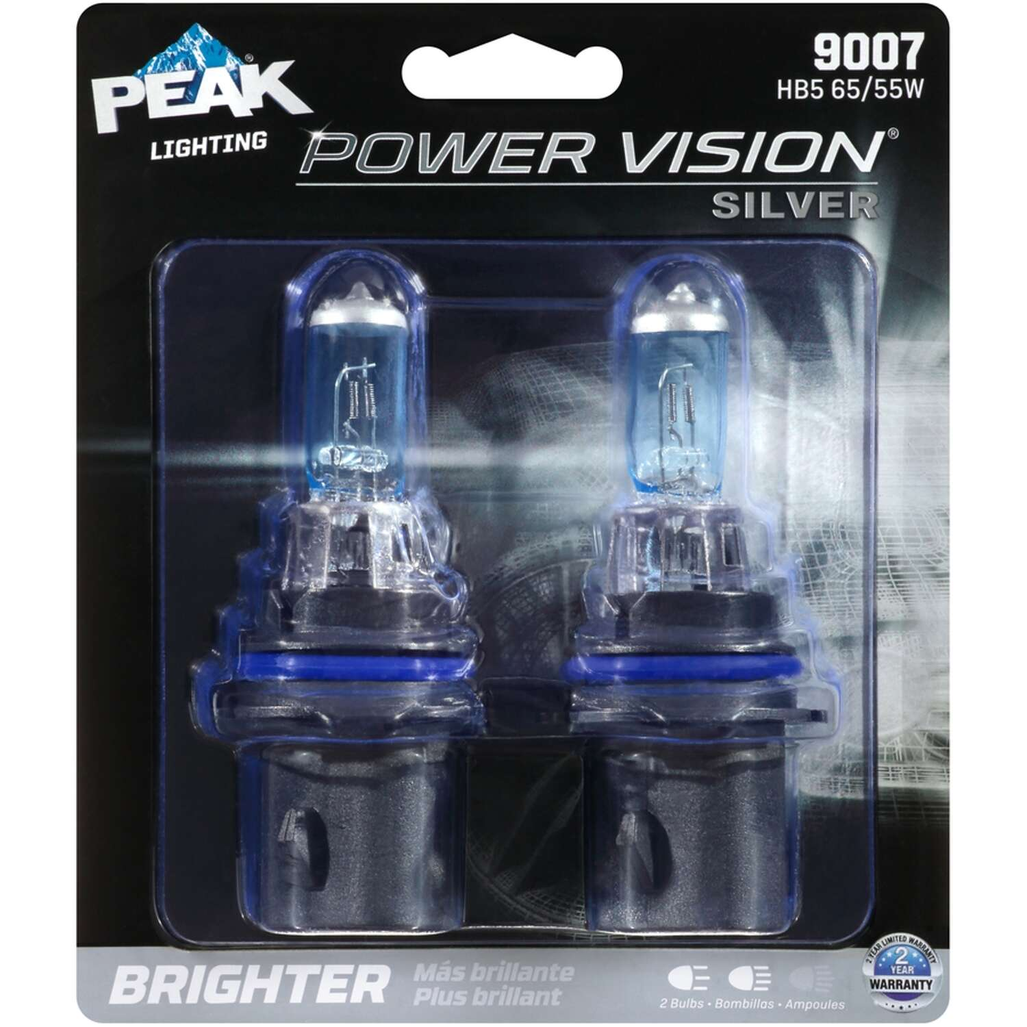 Peak  Power Vision Silver  Halogen  High/Low Beam  Automotive Bulb  9007 HB5 65/55W