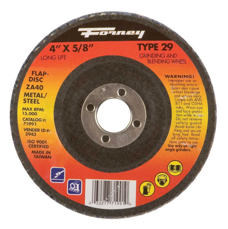 Forney  4 in. Dia. x 5/8 in. in.  Zirconia Aluminum Oxide  Flap Disc  36 Grit Fine  15200 rpm 1