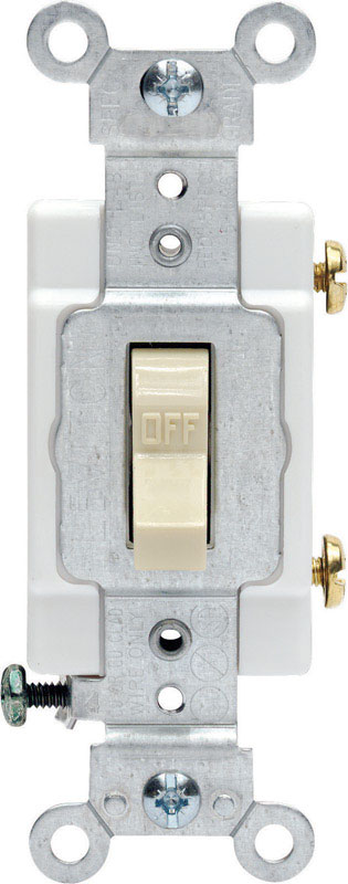 Leviton  Commercial  20 amps Toggle  Ivory  1 pk Switch