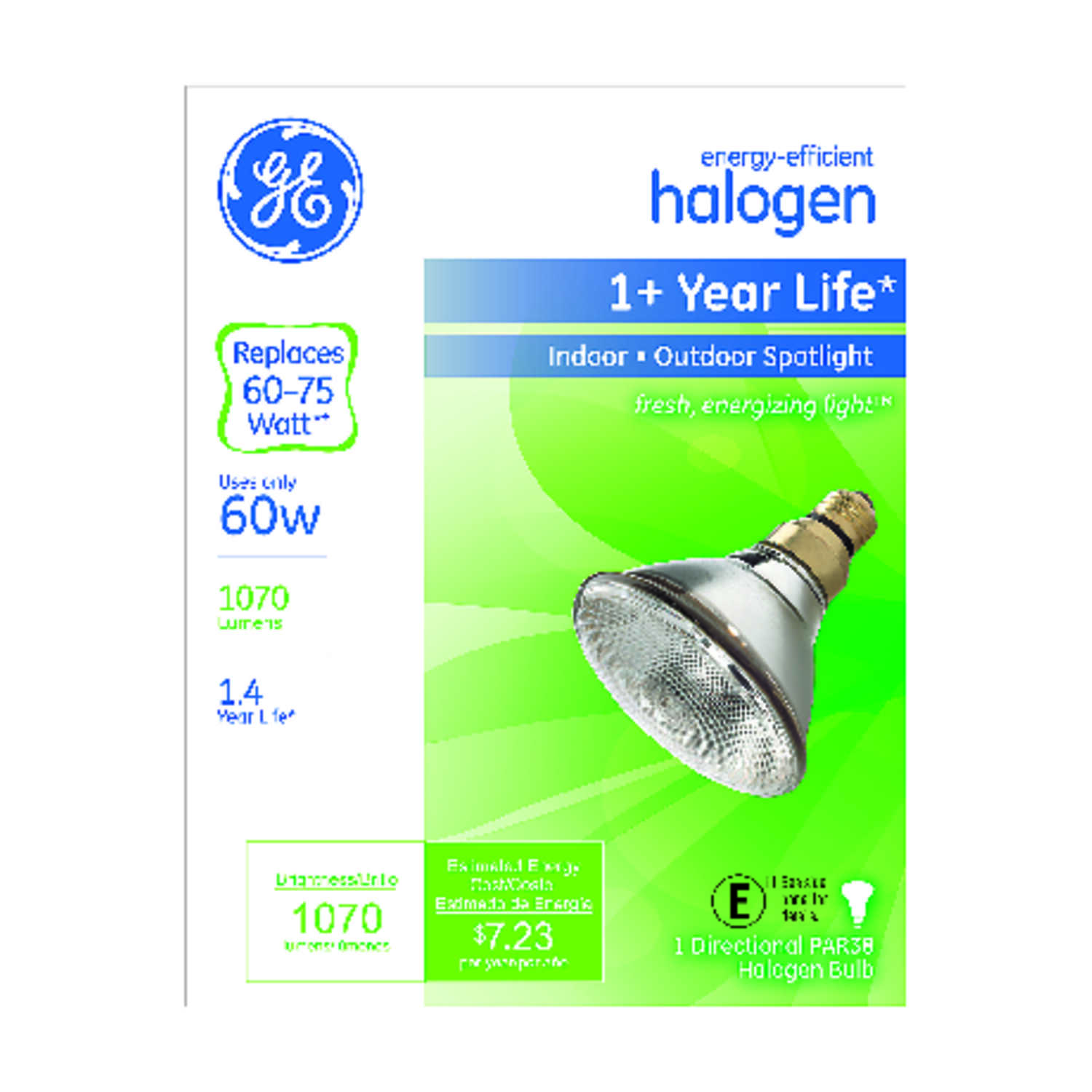 GE Lighting  60 watts PAR38  Halogen Bulb  1070 lumens White  Medium Base (E26)  1 pk Spotlight
