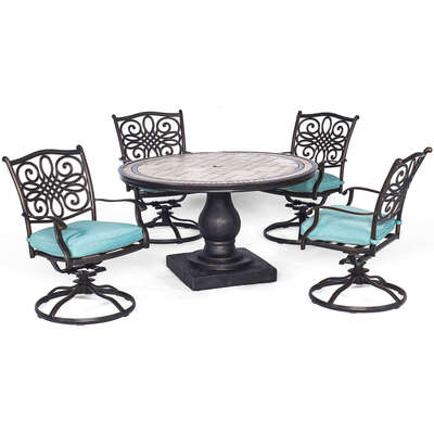 Hanover  Monaco  5 pc. Bronze  Aluminum  Swivel Rocker  Patio Set  Blue