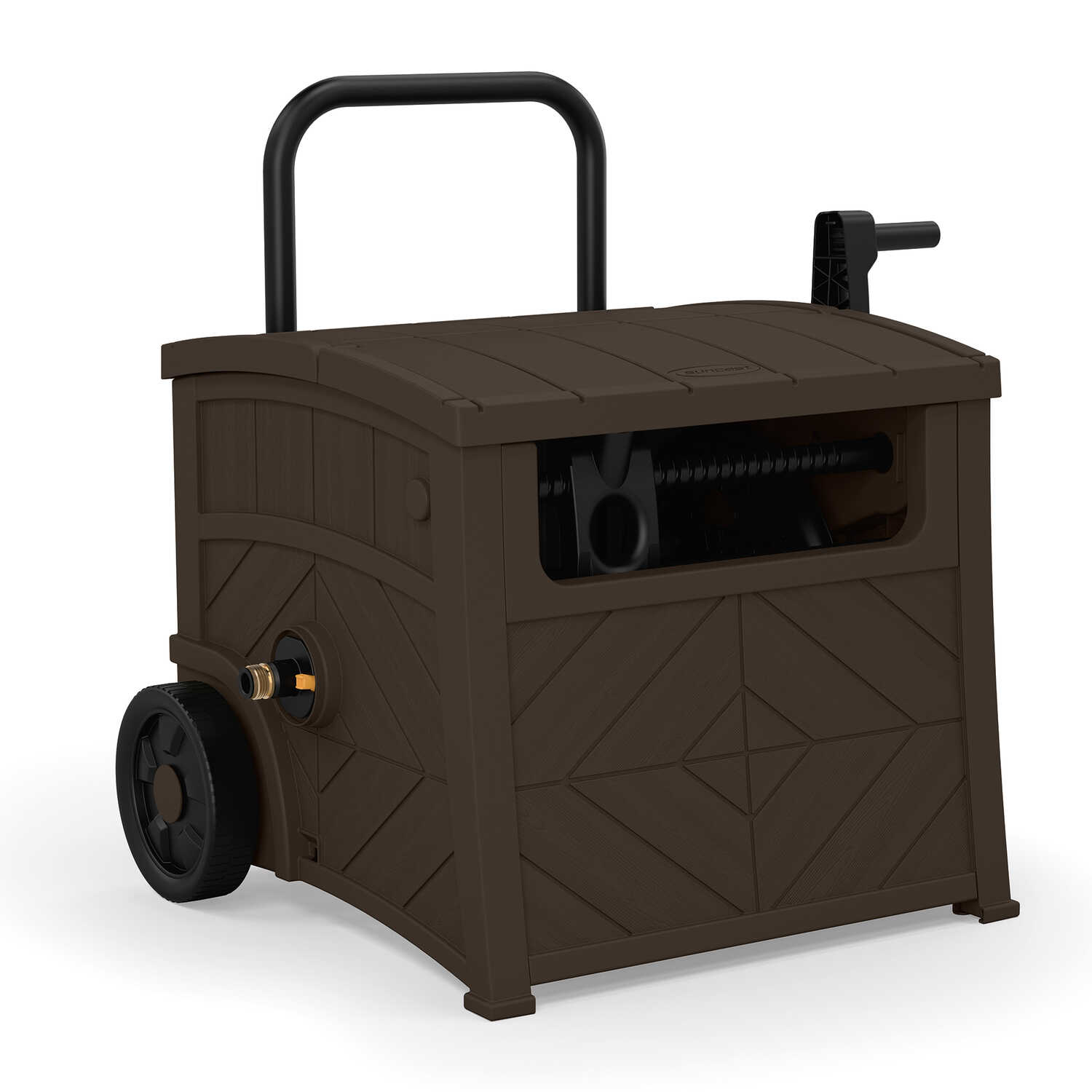 Suncast  150 ft. Free Standing  Hideaway  Brown  Hose Cart with Hose Guide