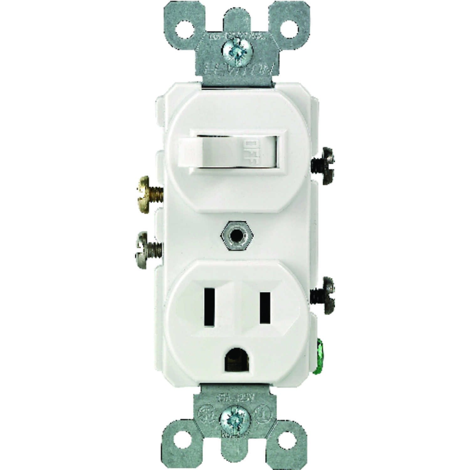 Leviton  15 amps 15 amps White  Switch & Receptacle  Combination  1 pk