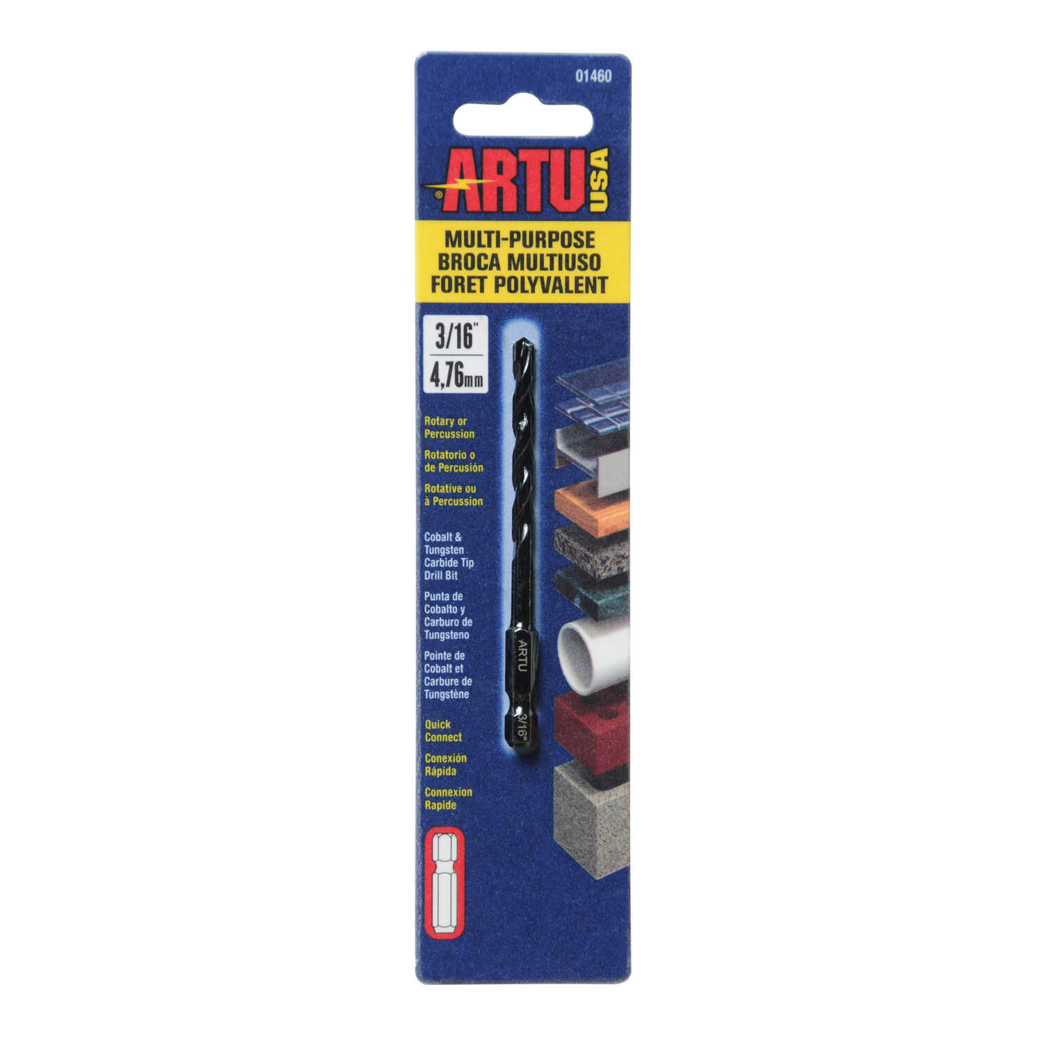 ARTU  3/16 in. Dia. x 3-1/2 in. L Carbide Tipped  Quick-Connect Drill Bit  Quick-Change Hex Shank  1
