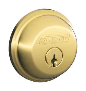 Schlage  Bright Brass  Zinc  Single Cylinder Deadbolt