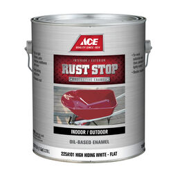 Ace  Rust Stop  Indoor and Outdoor  Flat  White  Rust Prevention Paint  1 gal.