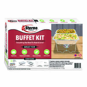 Sterno  20.88 in. W x 3.25 in. L Buffet Set  Silver  8 pc.
