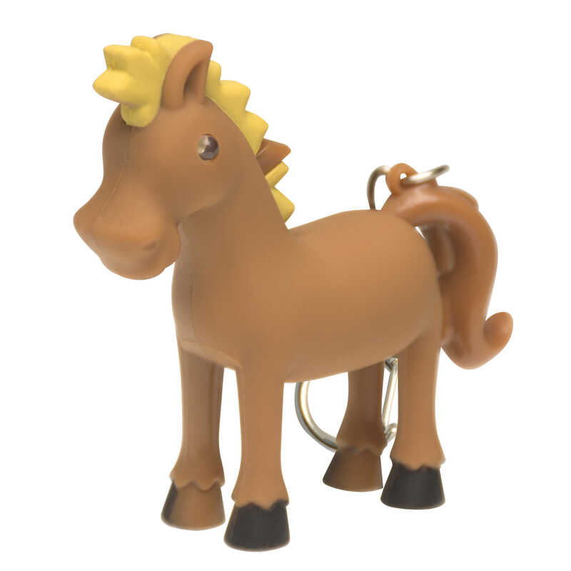 KeyGear  Plastic  Brown/Yellow  Horse  Key Chain w/LED Light