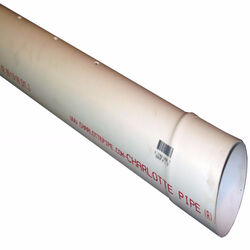 Charlotte Pipe  PVC  Sewer and Drain Pipe  4 in. Dia. x 10 ft. L 0 psi