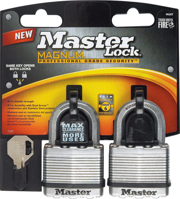 Master Lock  1-7/16 in. H x 13/16 in. W Ball Bearing Locking  Laminated Steel  2 pk Keyed Alike Padl
