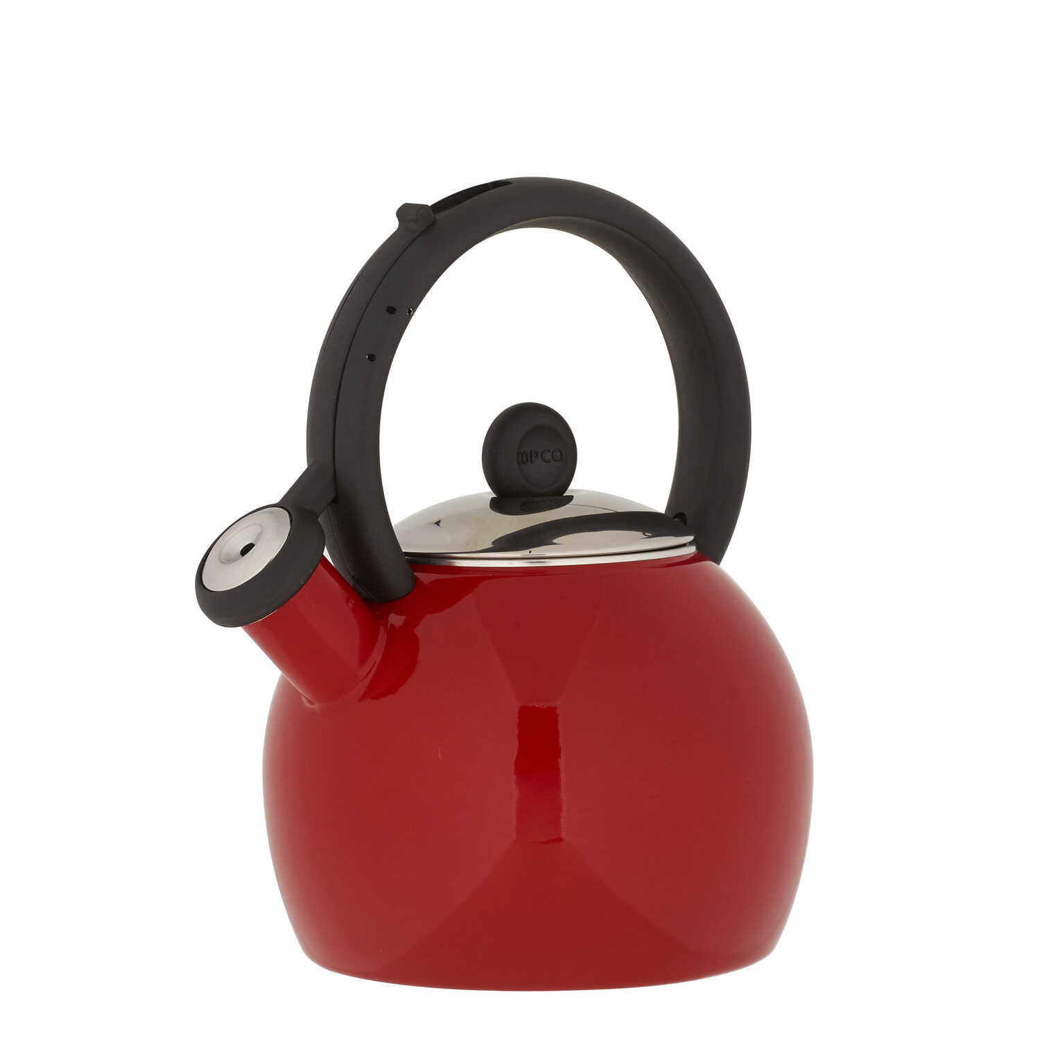 Copco  Vienna  Red  Classic Whistle  Stainless Steel  1-1/2 qt. Tea Kettle