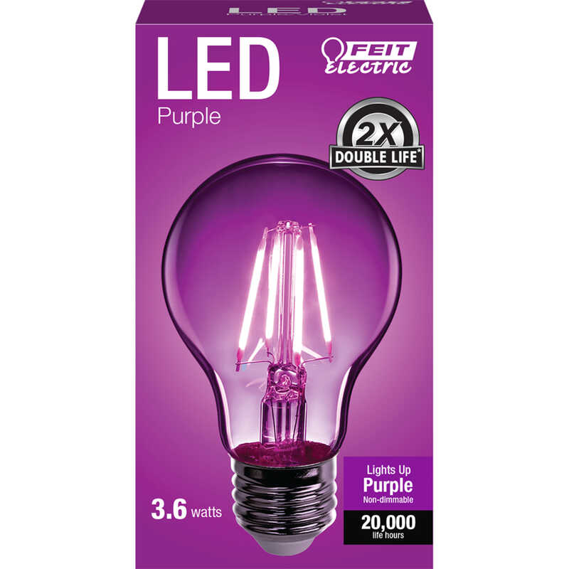 FEIT Electric  Filament  A19  E26 (Medium)  LED Bulb  Purple  30 Watt Equivalence 1 pk