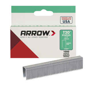 Arrow Fastener  T20  1/2 in. L x 5/16 in. W Wide Crown  Staples  1000 pk