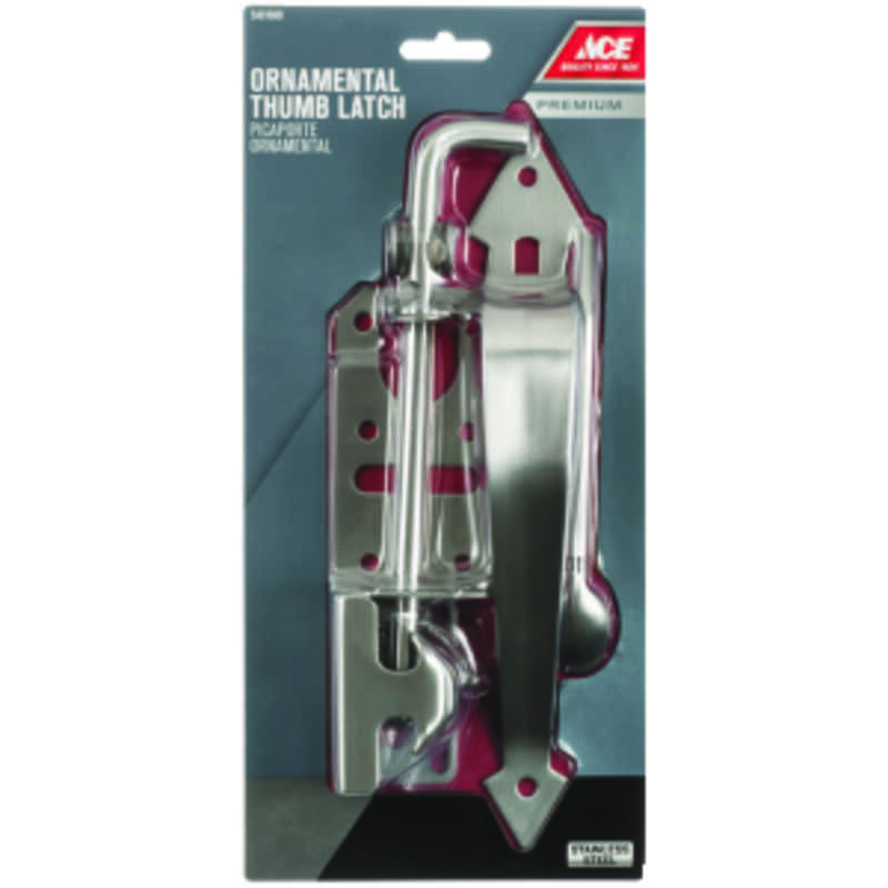 Ace  11 in. H x 3 in. W Stainless Steel  Thumb  Ornamental Gate Latch