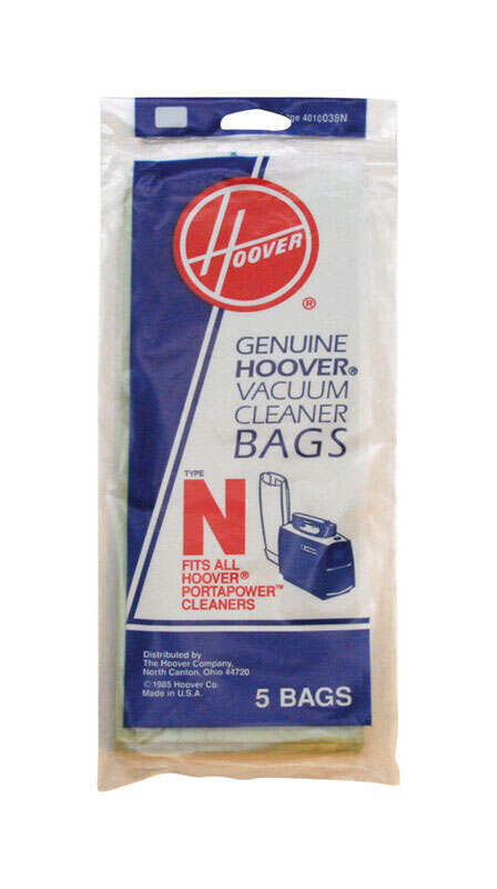 Hoover  Vacuum Bag  Style N Fits all Portapower Canister models Bagged 5 / Pack Canister