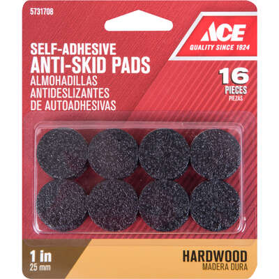 Ace Rubber Self Adhesive Non-Skid Pads Black Round 1 in. W 16 pk