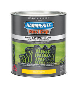 Hammerite  Rust Cap  Indoor and Outdoor  Smooth  Bright Yellow  Alkyd-Based  Metal Paint  1 qt.