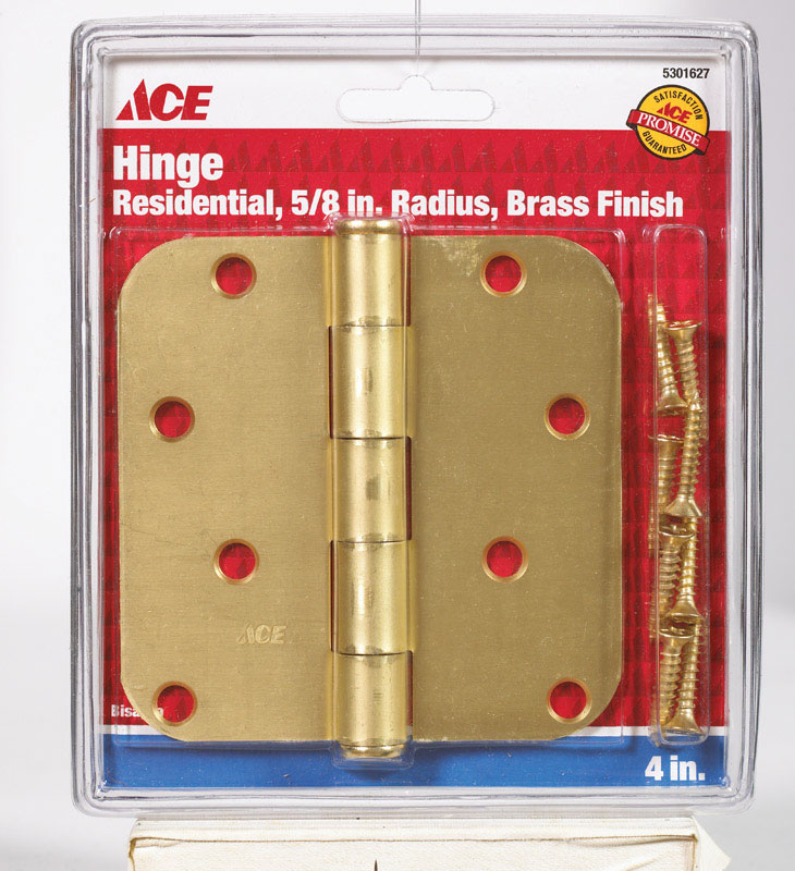 Ace  4 in. L Satin Brass  Brass  Residential Door Hinge  1 pk