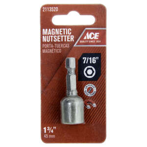 Ace  7/16 in. drive  x 1-3/4 in. L Magnetic Nut Setter  Chrome Vanadium Steel  Quick-Change Hex Shan