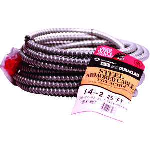 Southwire  25 ft. 14/2  Solid  Steel Armored AC  Cable