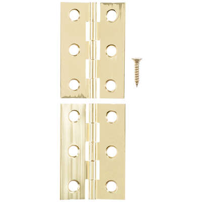 Ace  2 in. W x 1-3/8 in. L Polished Brass  Brass  Broad Hinge  2 pk